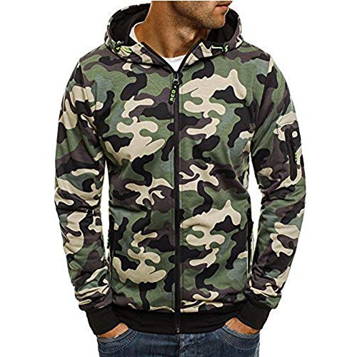 Corriee Fashion Tops for Men 2018 Cool Camouflage Zip Hooded Sweatshirts Mens Autumn Pullover Casual Go Out Hoodies by Corriee Men Hoodies