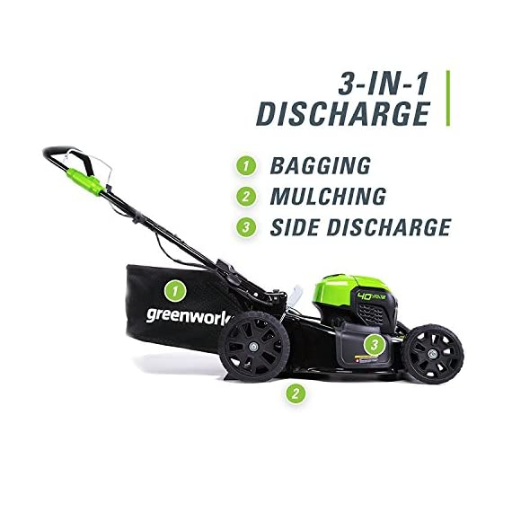 greenworks 40V 21 inch Brushless Dual PH Mower with Two 2.5AH Batteries and Charger, MO40L2512 4 Includes (2) 2.5 AH - 40V Lithium Batteries Durable 21'' Steel Deck lets you Mulch, Bag, or Side Discharge allowing you to maintain your yard the way you want it Our dual battery port design enables one battery to be stored while the other fuels the mower for uninterrupted cutting; saving a you a trip to the garage