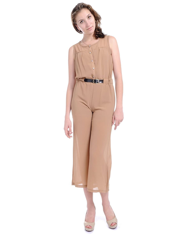 Anna-Kaci S/M Fit City Girl Jet Setter Belted Waist Button Front Jumpsuit