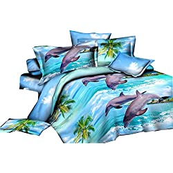 Jumping Dolphin Printed 4Pcs Bedding Polyester Bedclothes Set Comforter Shell Queen Size