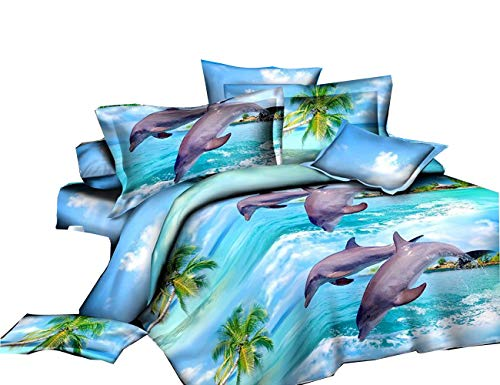 - Jumping Dolphin Printed 4Pcs Bedding Polyester Bedclothes Set Comforter Shell Queen Size