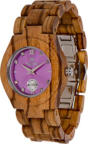 (Maui Kool Wooden Watch Hana Collection for Women Analog Wood Watch Bamboo Gift Box (B6 - Zebra Lavender))