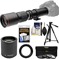 Vivitar 500mm f/8.0 Telephoto Lens with 2x Teleconverter (=1000mm) + Tripod + 3 Filters Kit for Canon EOS 6D, 70D, 7D, 5DS, 5D Rebel T3, T3i, T5, T5i, T6i, T6s, SL1 Cameras