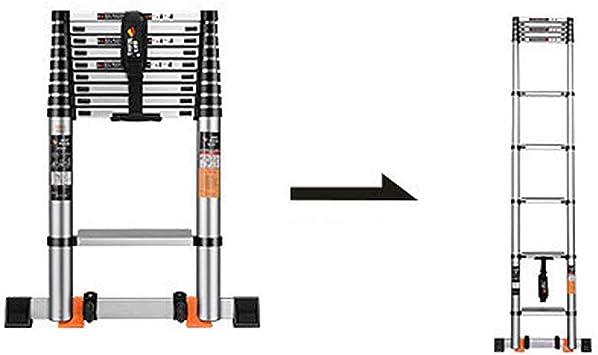 Escalera telescópica de aluminio plegable multifunción, escalera móvil, barra estabilizadora, escalera extensible, portátil, escalera plegable, carga máxima: 150 kg, certificación: EN131-2,6 metros: Amazon.es: Bricolaje y herramientas