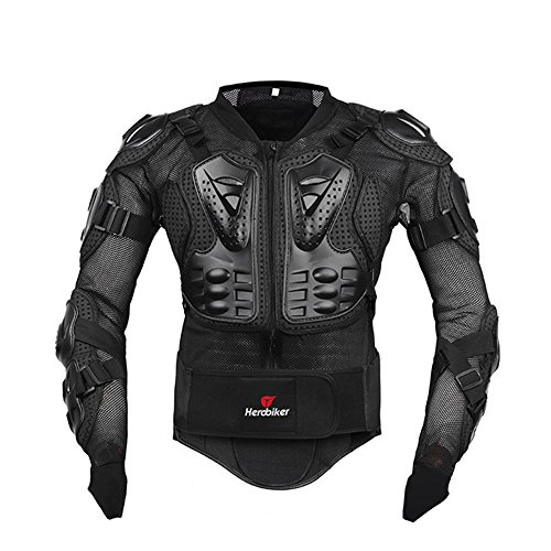 HEROBIKER Motorcycle Full Body Armor Jacket Spine Chest, Black, Size Medium