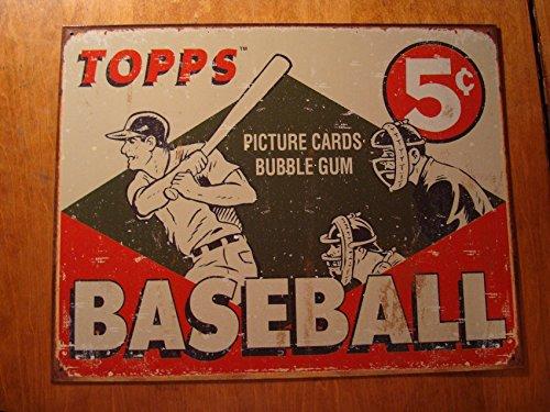 Vintage Retro Style Topps Baseball Cards Rustic Tin Sign Advertising Decor