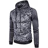 ღ Ninasill ღ Mens Autumn&Winter Leopard Coat Jacket Swearshirt Hoodie (M, Deep Gray)