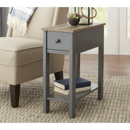 Laurel Narrow Wooden Accent Table With Storage Shelf and Drawer With Metal Knob, Gray by Better Homes and Gardens