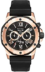 Mens Bulova Marine Star Watch in Rose Gold Tone Stainless Steel with Black Rubber Strap (98B104)