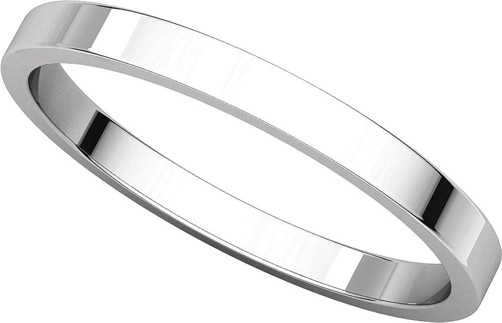 Flat Wedding Band 2.5MM Mens 18K White Gold