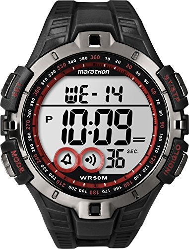 Marathon by Timex Men's T5K423 Digital Full-Size Black/Gunmetal Gray/Red Resin Strap (Black Digital Strap)