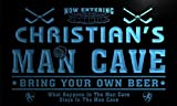 qe1564-b Christian's Man Cave Hockey Bar Neon Sign