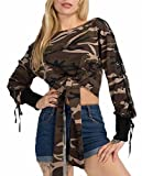 MLG Womens Sexy One Shoulder Bandage Sleeve Tie Front Camo Pullover Crop Top As picture M