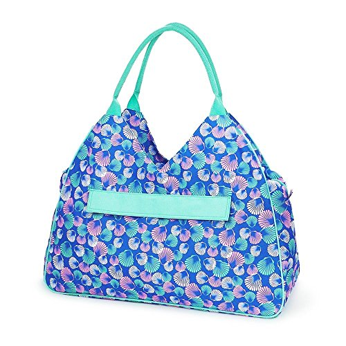 High Fashion Print Water Resistant Large Beach Bag Tote with Zipper Top Can Be Monogrammed or Personalized (Blue Shells - No Embroidery)