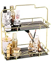 PLINRISE Makeup Organizer, 2 Tier Bathroom Cosmetic Storage Shelf for Dresser and Countertop, Decorative Wire Vanity Organizer Basket with Marbling Glass Tray, Gold