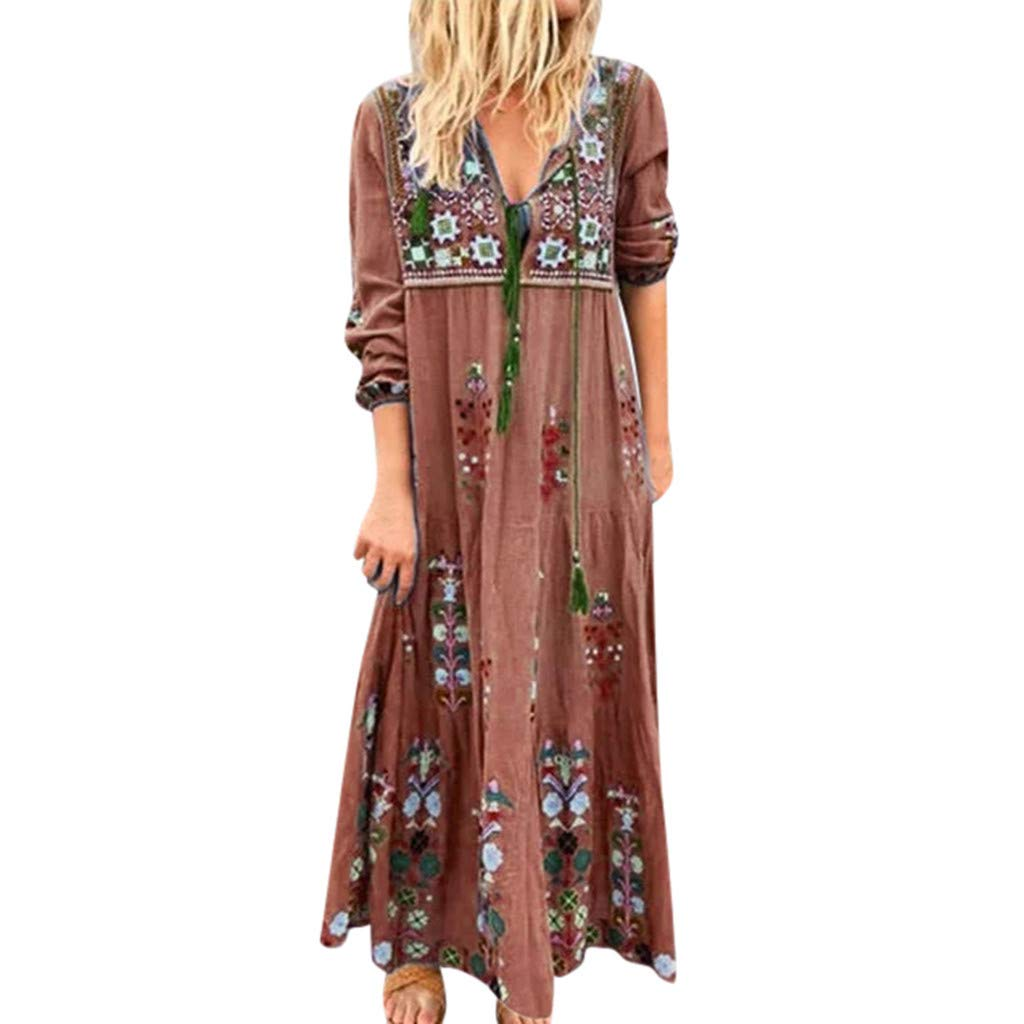 Huifa Women Plus Size V Neck Print Lace Up Long Sleeve Boho Dress Party Maxi Dress (Brown,XXXXXL)