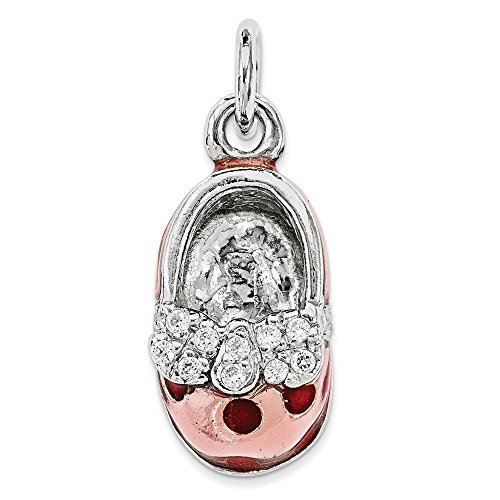 Sterling Silver 3-D Pink Enameled Baby Shoe Charm