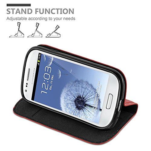 Cadorabo - Funda Book Style Cuero Sintético en Diseño Libro para Samsung Galaxy S3 MINI �?Etui Case Cover Carcasa Caja Protección con Imán Invisible, Tarjetero y Función de Soporte en TURQUESA-PETROL ROJO-MANZANA