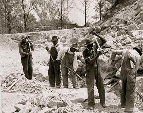 24 x 36 Prisoners breaking up rocks at a prison camp or road construction site Poster Print