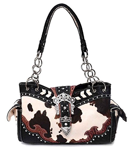 Western Cow and Belt Collection Handbag, NEW (Black) (Cow Print Luggage)