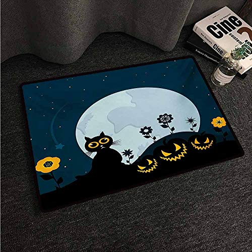 HCCJLCKS Fashion Door mat Halloween Cute Cat and Lanterns Moon on Floral Field with Starry Night Sky Star Cartoon Art Super Absorbent mud W30 xL39 Blue Black -