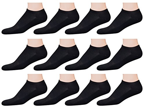 AirStep Men's Patterned Low Cut / No Show Athletic Performance Socks with Arch Support and Cushion Sole - 12 Pack, ()