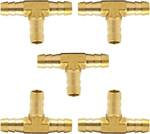 """Brass Hose Barb Tee 1/8"""" x 1/8"""" x 1/8"""" Barbed T -Fitting 3 Ways Hose Union Pack of 5"""
