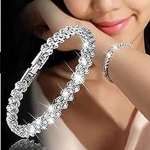 Diamond Bracelets, Fheaven Woman Fashion Roman Style Crystal Diamond Chain Bracelets Jewelry Gifts (Silver)