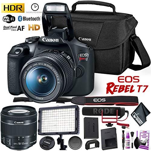 (Canon Rebel T7 DSLR Camera with 18-55mm Lens HD Video Kit Bundle)