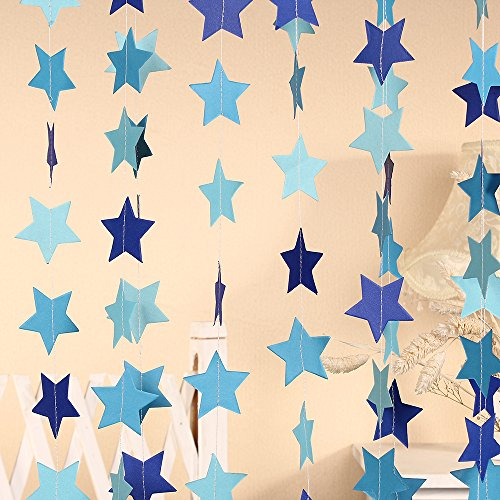 Paper Five-pointed Star Garland Dots Hanging Decor, Five-pointed Star Event & Party Supplies,2'' high,9.8-feet,Light blue Deep blue Sky blue 2pcs