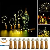 LXS Wine Bottle Lights,9 Pack Battery Operated Lights 18in 10LED Fairy Lights For DIY Wedding Party Christmas Decoration(Warm White)