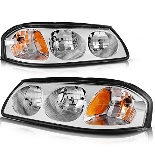 - For 2000-2005 Chevy Impala Headlight Assembly OE Style Replacement Headlamps Chrome Housing Amber Reflector Clear Lens