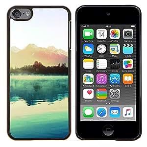 Qstar Arte & diseño plástico duro Fundas Cover Cubre Hard Case Cover para Apple iPod Touch 6 6th Touch6 (Hermoso lago y montañas)