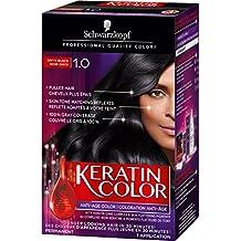 Schwarzkopf Keratin Color Anti-Age Permanent Hair Color Cream, 1.0 Onyx Black, 60 Milliliter (2039467)