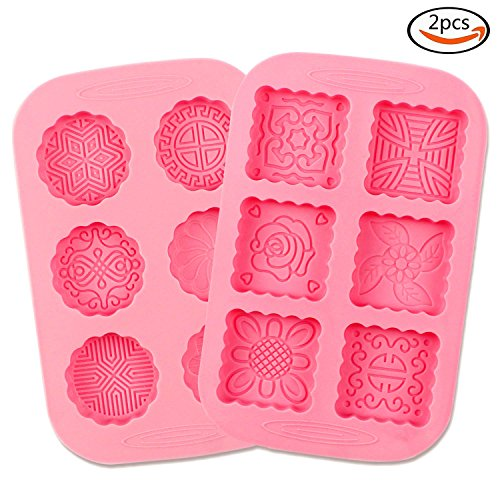 SHAN RUI 2pcs Round and Square 6 Cavity Mooncake Soap Chocolate Silicone Mold DIY Handmade Mold
