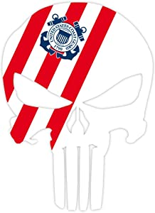 "Punisher skull coast guard flag sticker decal 4"" x 5"""