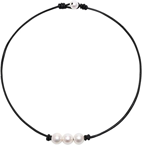 Perfect Gift Necklace Free Shipping! Long Double Strand Black Freshwater Pearl /& All Natural Hand Knotted Leather