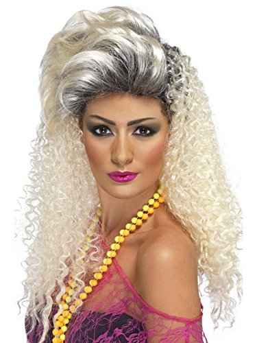 Smiffys Women's Long Curly Blonde 80's Wig with Quiff, One Size, 80's Bottle Wig, -