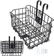 Folding Rear Bike Basket Easy Installation on Front Handlebar & Rear Seat Capacity 44lbs for Mountain Bike