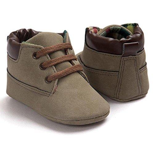 Covermason Baby Jungen Mädchen Kleinkind Schuhe Weiche Sohle Leder-Schuhe Braun B