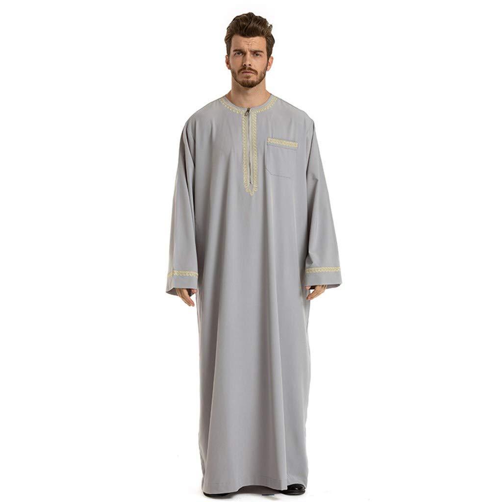Mens Abaya Muslim Thobe Thoub Abaya Robe Islamic Arab Kaftan