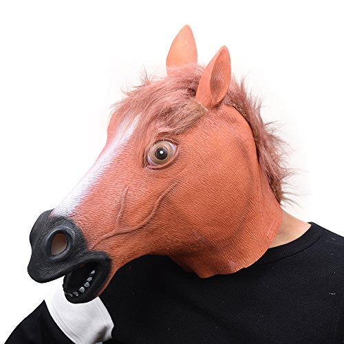PARTY STORY Latex Horse Head Mask Animal Face Mask Novelty Halloween Costume Rubber masks