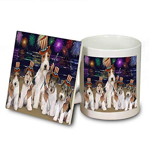 4th of July Independence Day Firework Wire Fox Terriers Dog Mug and Coaster Set MUC52464 (Independence Coasters Dishwasher Safe)