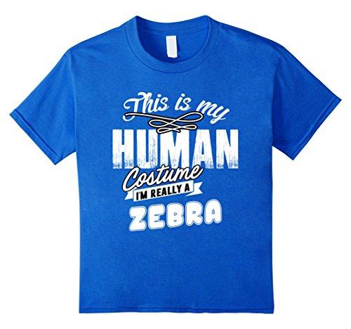 Kids Zebra Halloween Costume Shirt Easy Funny for Men Boys Girls 12 Royal (Zebra Costume Diy)