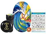 """INDO BOARD Original Training Package Balance Board– Includes 30"""" X 18"""" Deck, 6.5"""" Roller and 14"""" IndoFLO Cushion - Bamboo Beach Design"""