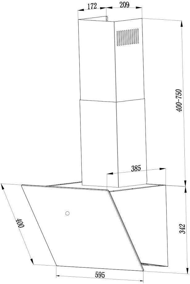 inkl EEK: A+ Umluft-Set Schwarz VLANO Kopffreie Wandhaube MELIA PLUS 600 BK