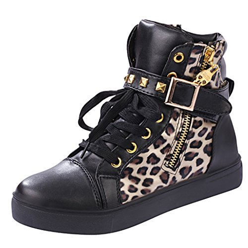 iMaySon Womens Skull Canvas Lace-up Zipper Increat Confortable Sports Shoes(6 B(M) US, Black-Leopard) (Howser Slide Keen compare prices)