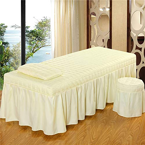 JIAOHJ Bed Linings Massage Table Sheet Sets,Solid Color Non-Slip Beauty Bed Cover Three Sets,Salon Spa Massage Bed Cover,E,60×180cm(23.6×71inch)