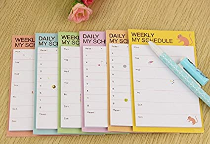 2 pieces weekly daily schedule planner cartoon sticky notes stickers