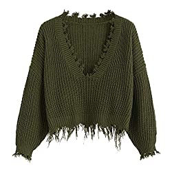 Dezzal Women S Loose Long Sleeve V Neck Ripped Pullover Knit Sweater Crop Top Army Green